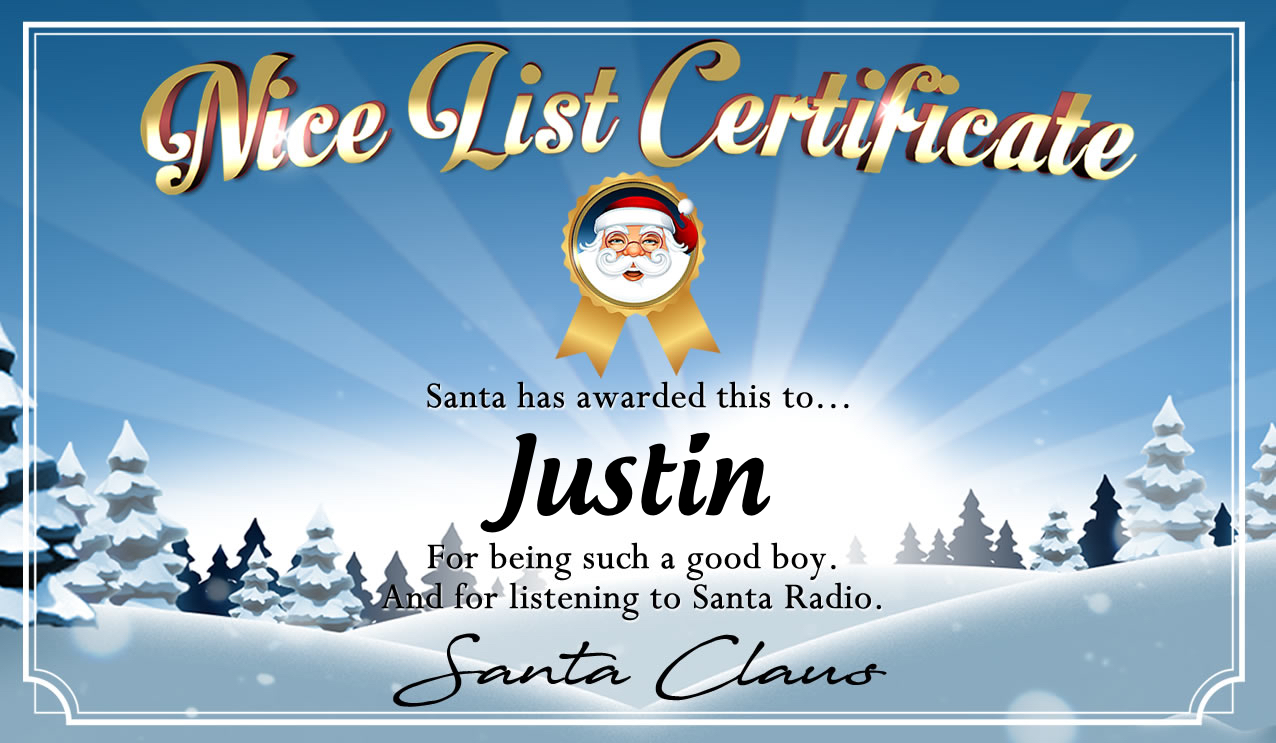 Personalised good list certificate for Justin