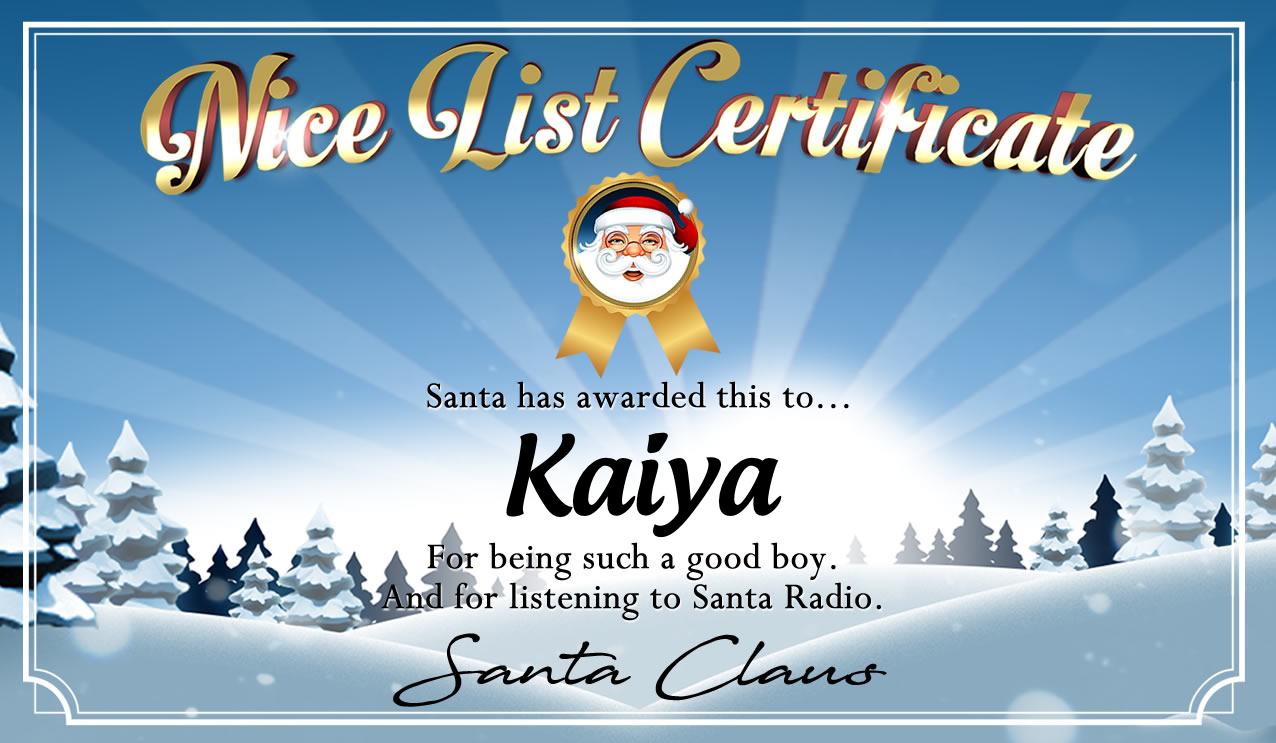Personalised good list certificate for Kaiya