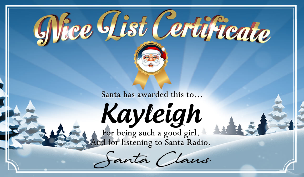 Personalised good list certificate for Kayleigh