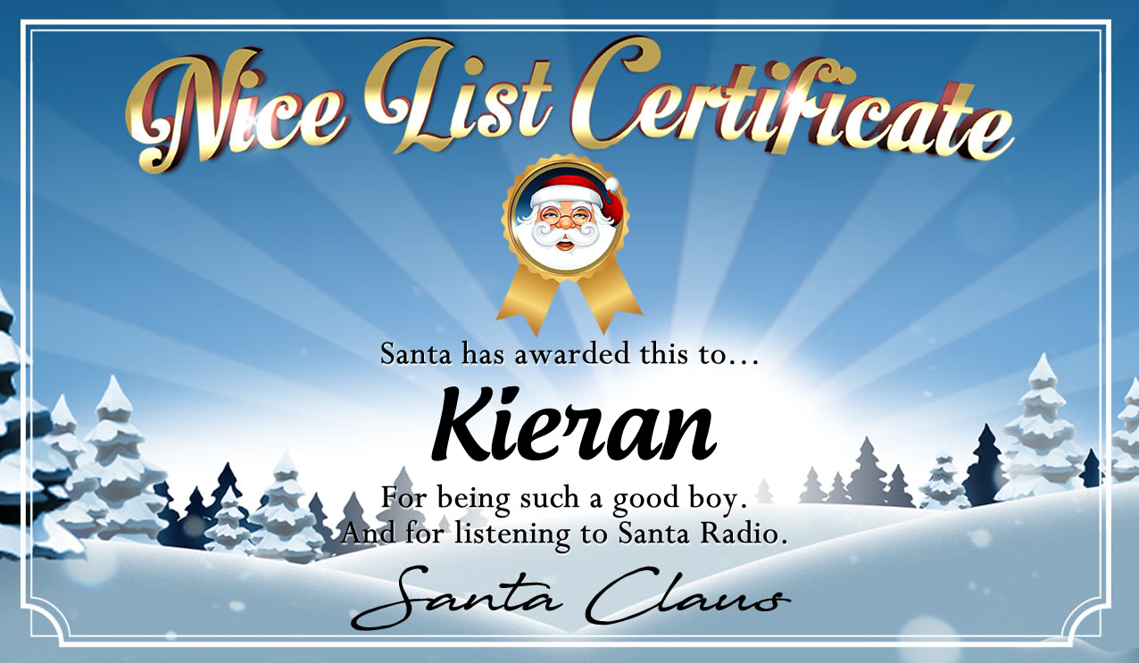 Personalised good list certificate for Kieran