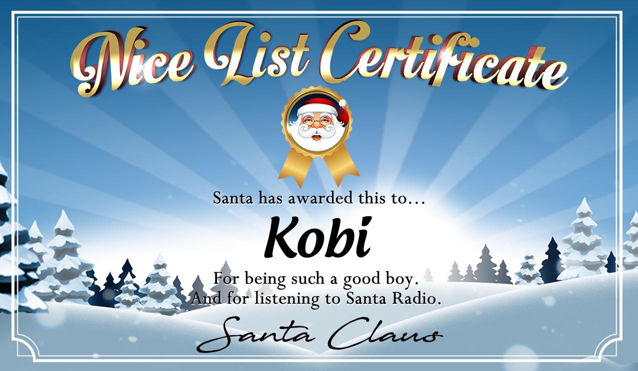 Personalised good list certificate for Kobi
