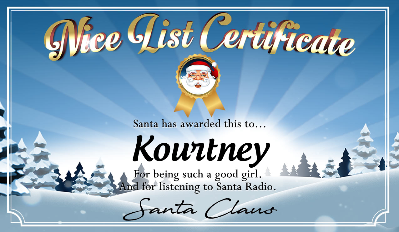 Personalised good list certificate for Kourtney