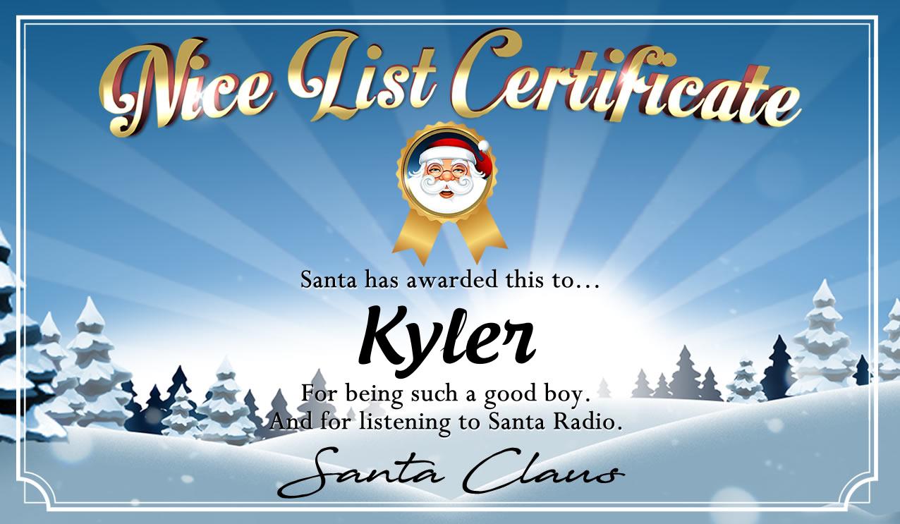 Personalised good list certificate for Kyler
