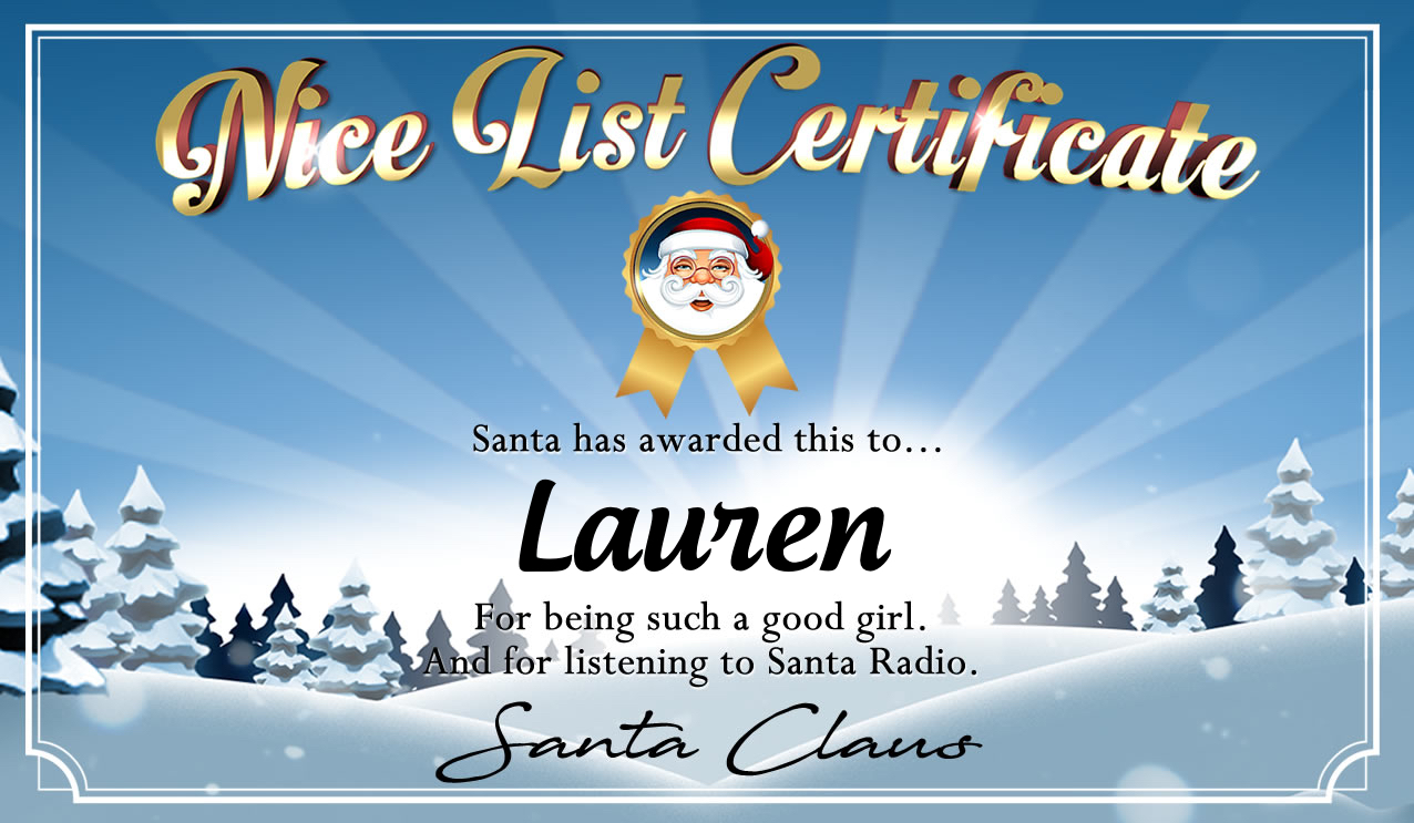 Personalised good list certificate for Lauren