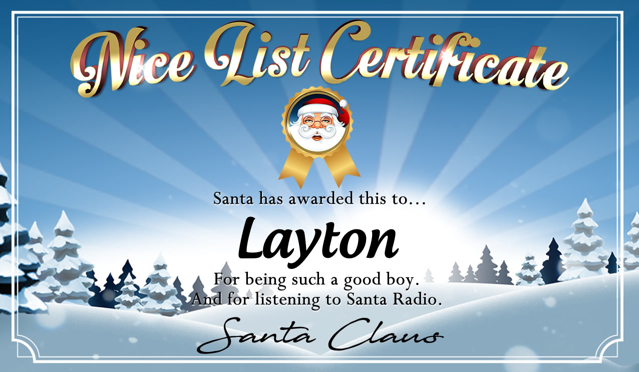 Personalised good list certificate for Layton