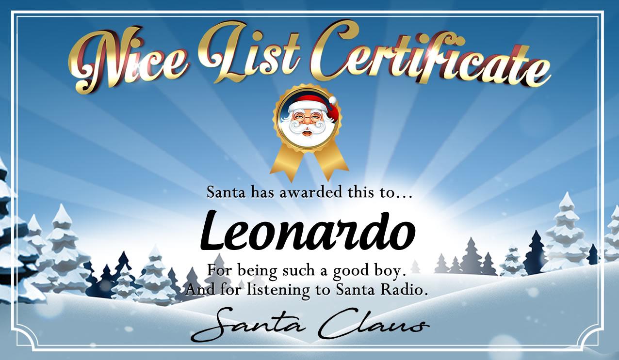 Personalised good list certificate for Leonardo