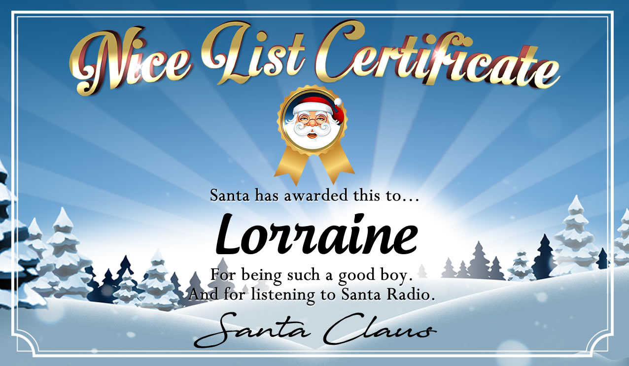 Personalised good list certificate for Lorraine