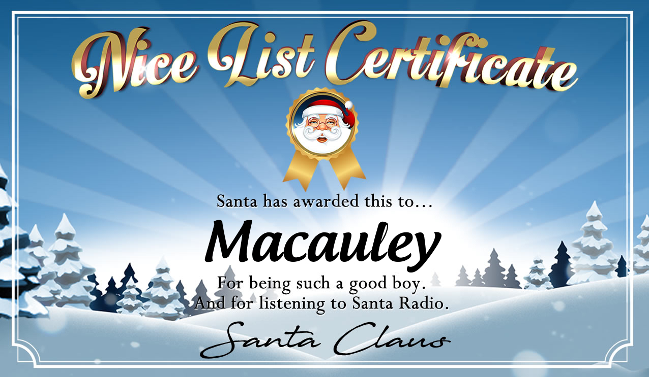 Personalised good list certificate for Macauley