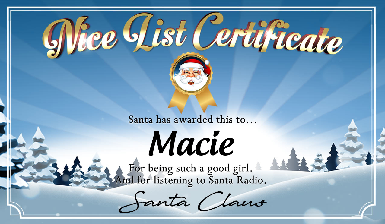 Personalised good list certificate for Macie