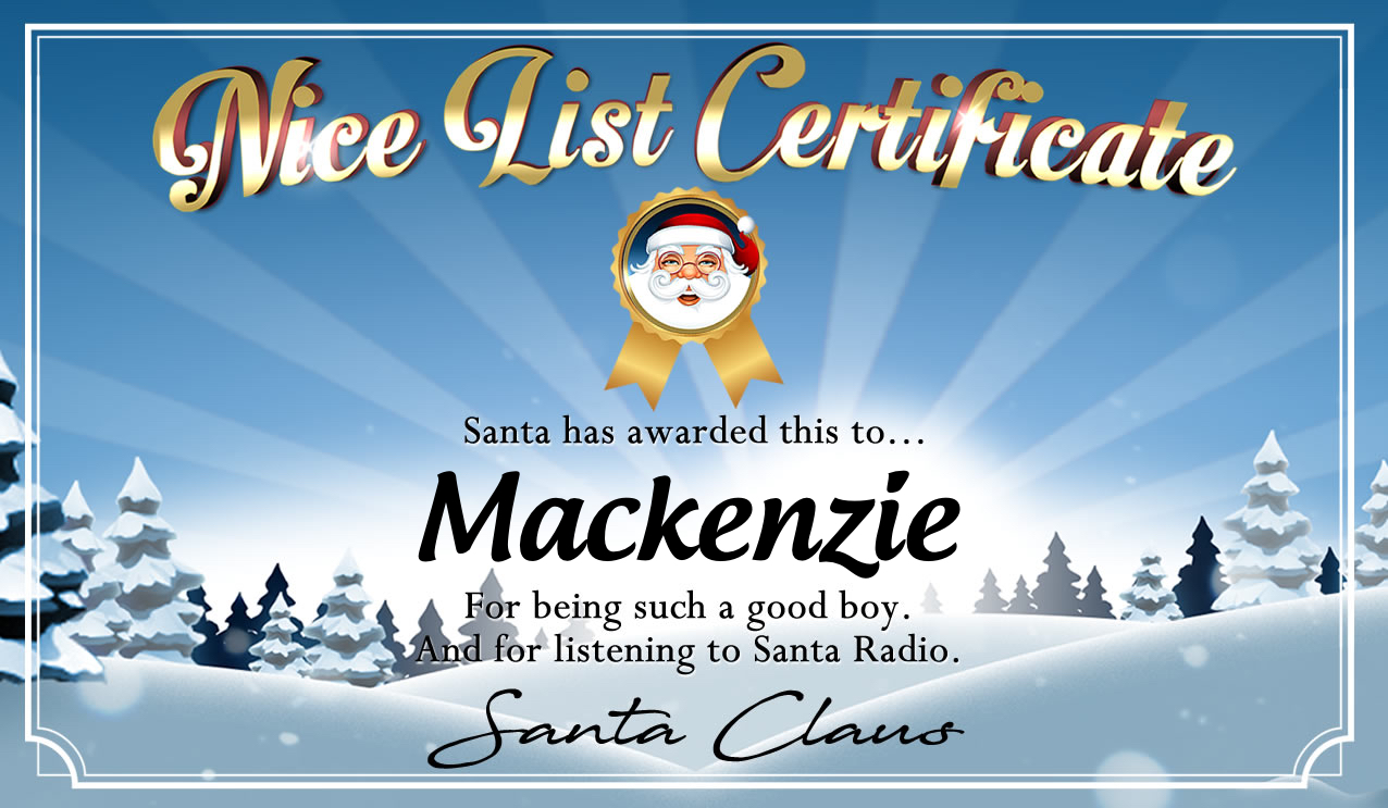 Personalised good list certificate for Mackenzie