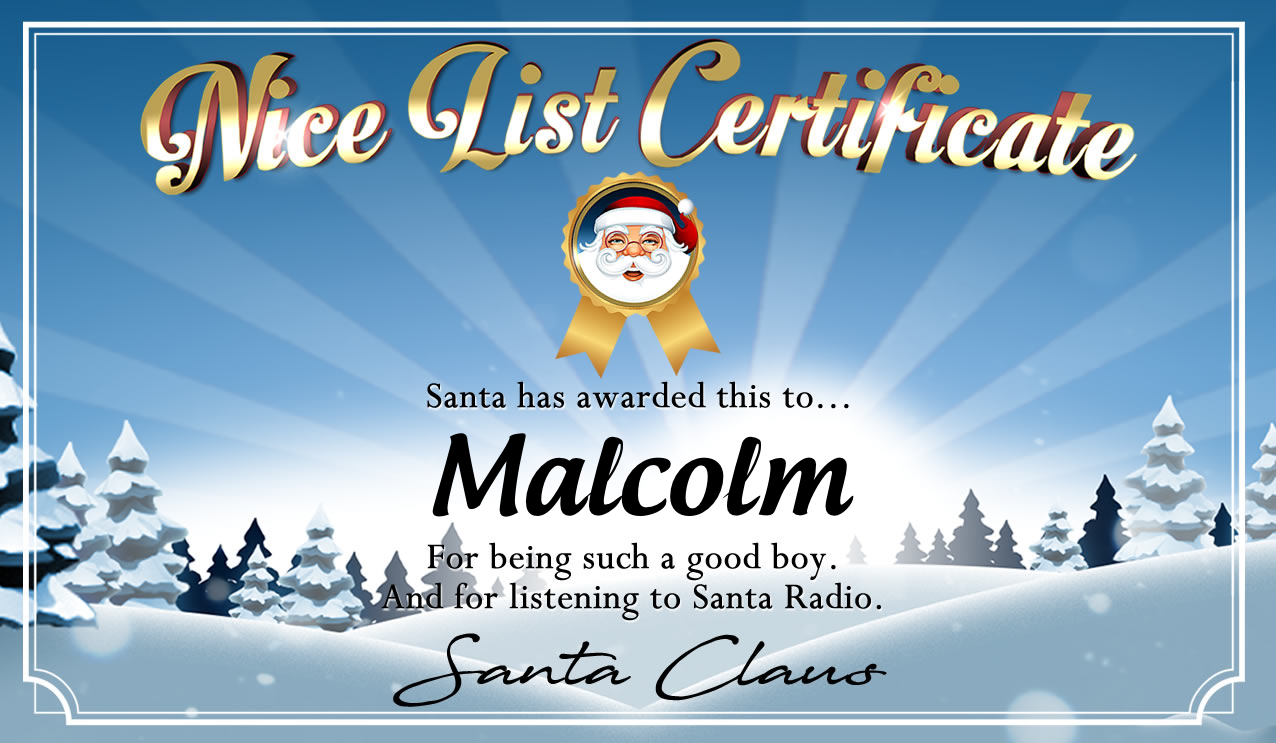 Personalised good list certificate for Malcolm