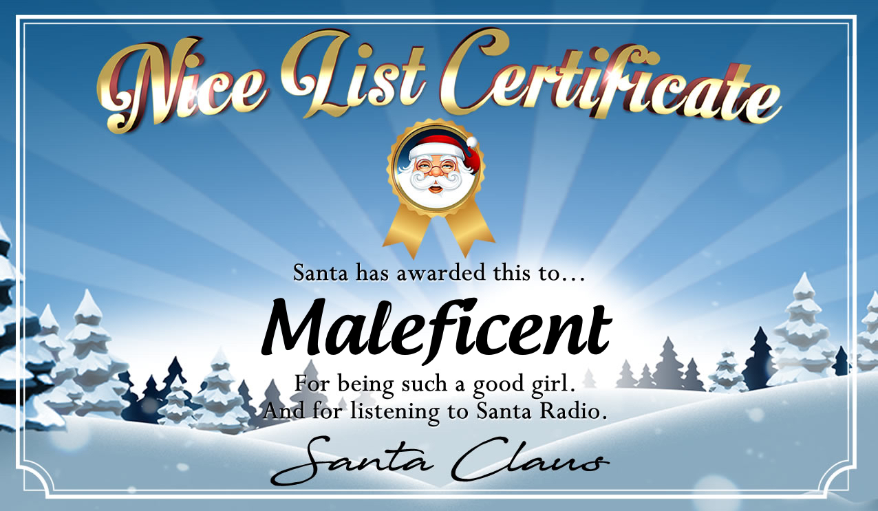 Personalised good list certificate for Maleficent