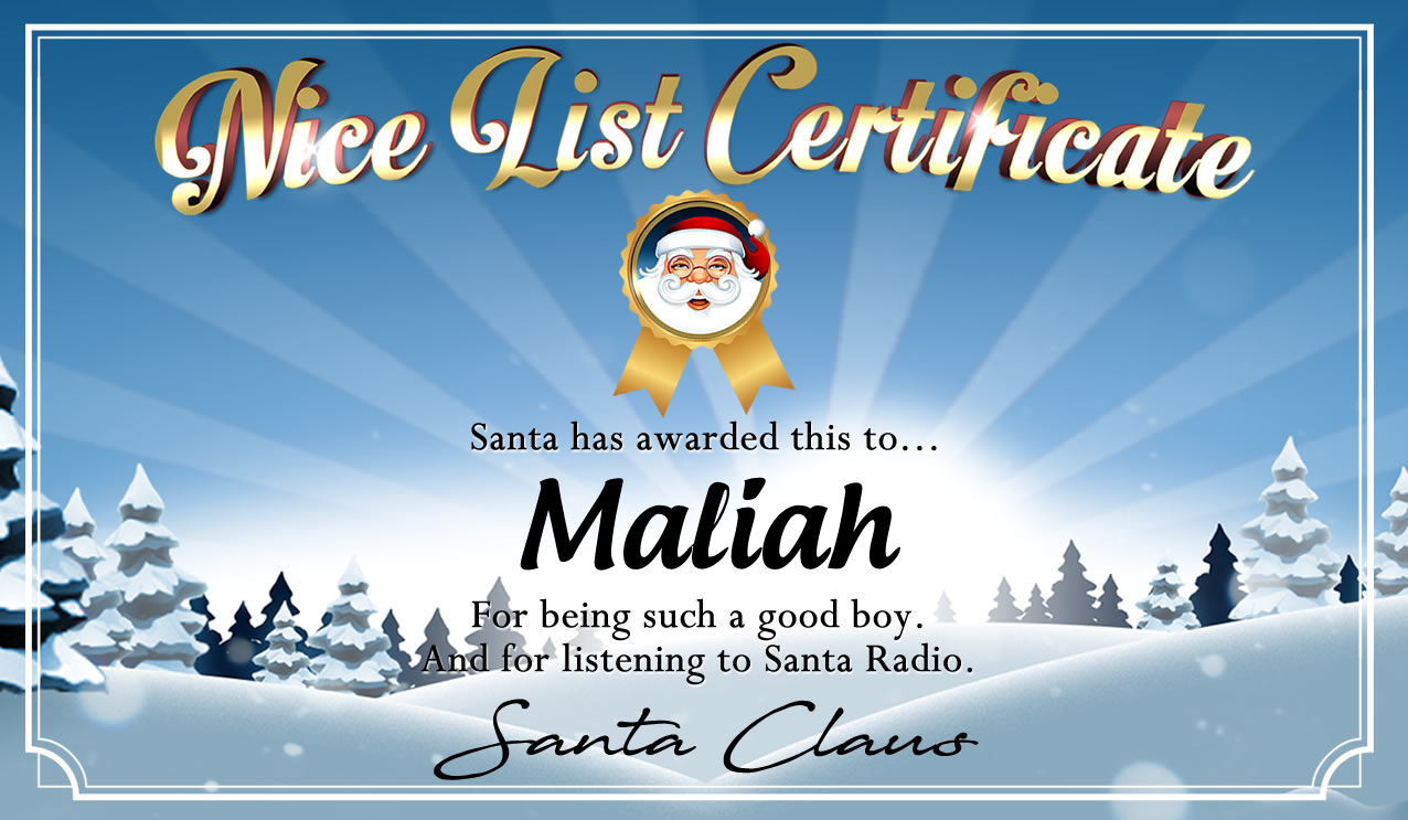 Personalised good list certificate for Maliah