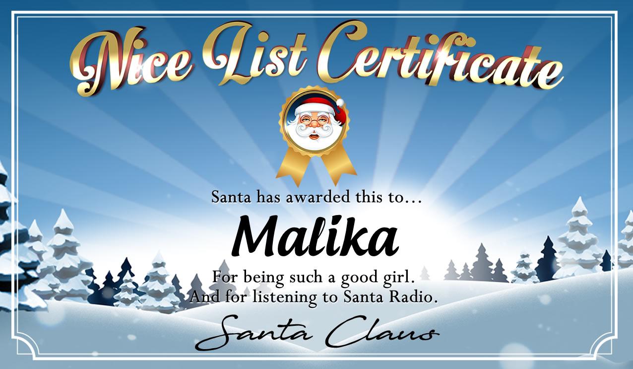 Personalised good list certificate for Malika