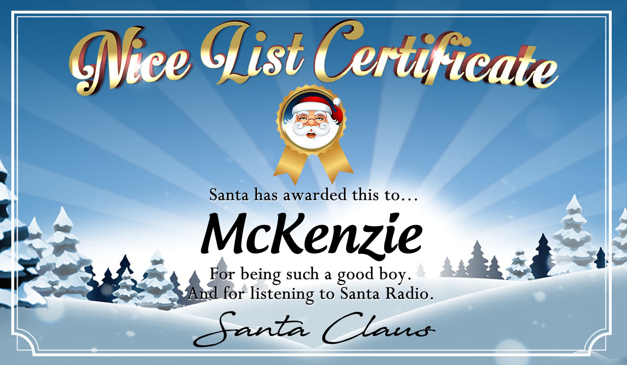 Personalised good list certificate for McKenzie