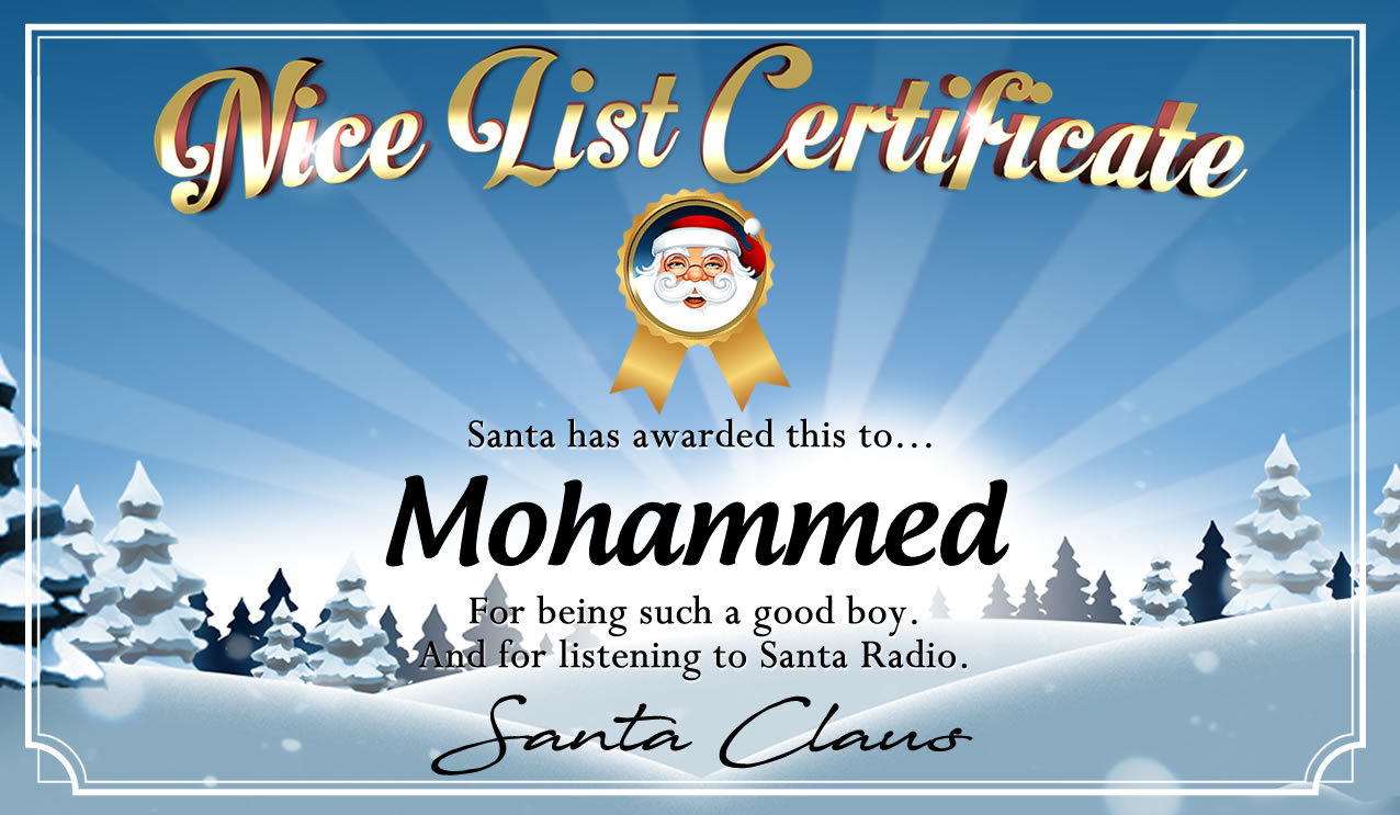 Personalised good list certificate for Mohammed