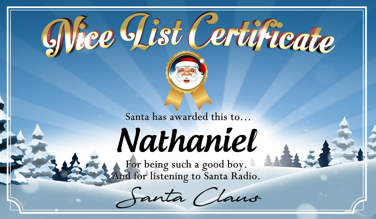 Personalised good list certificate for Nathaniel