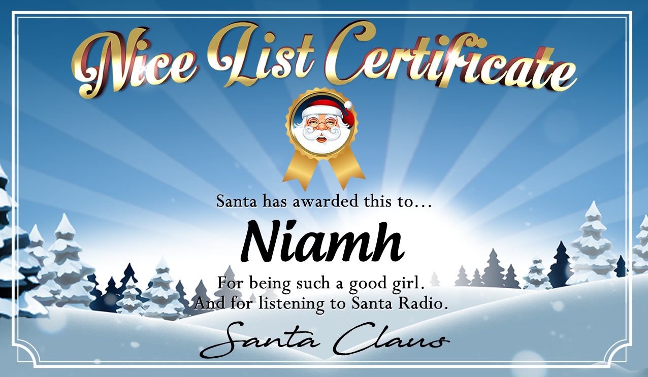 Personalised good list certificate for Niamh
