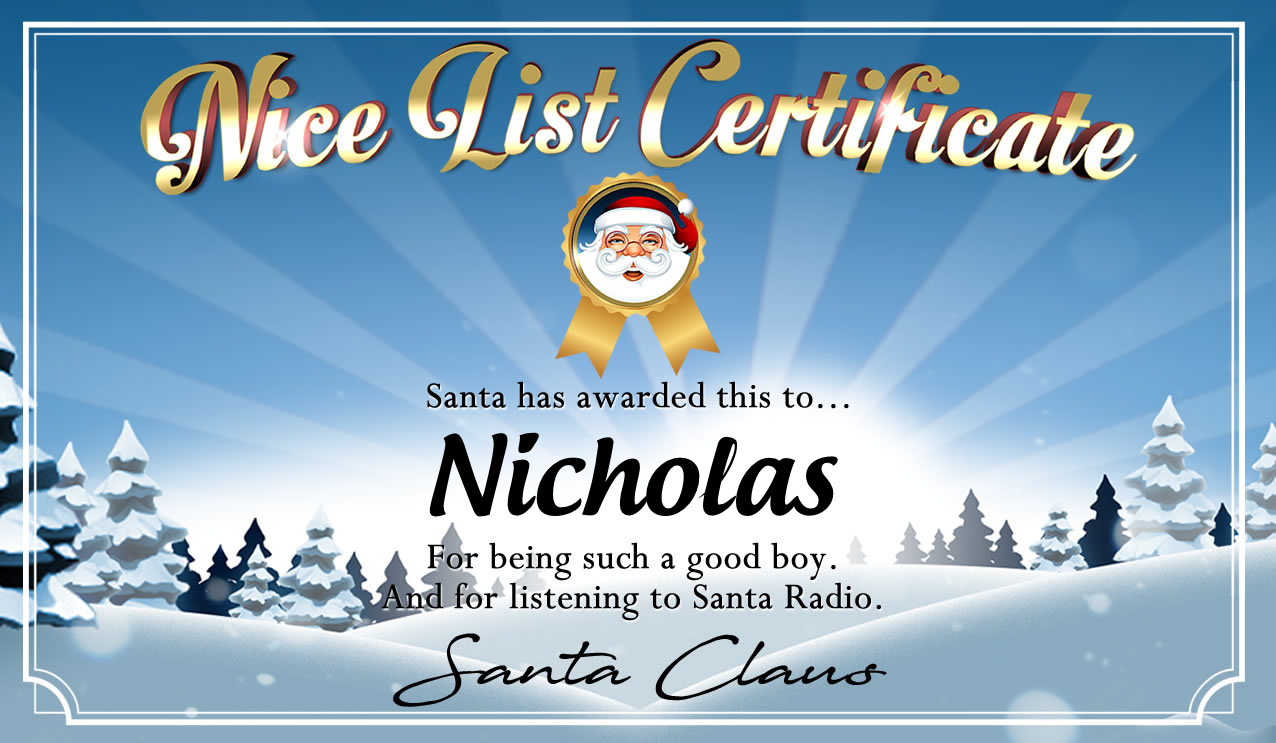 Personalised good list certificate for Nicholas