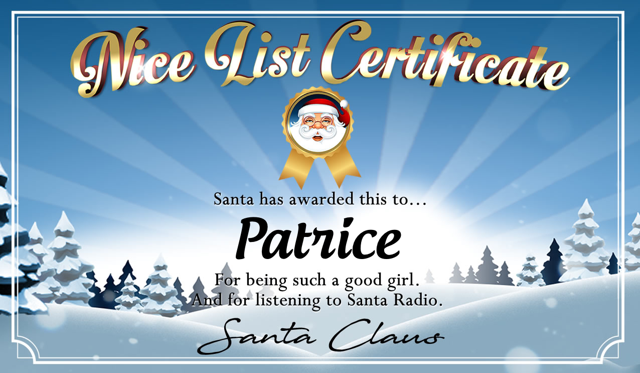 Personalised good list certificate for Patrice