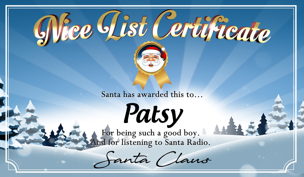Personalised good list certificate for Patsy