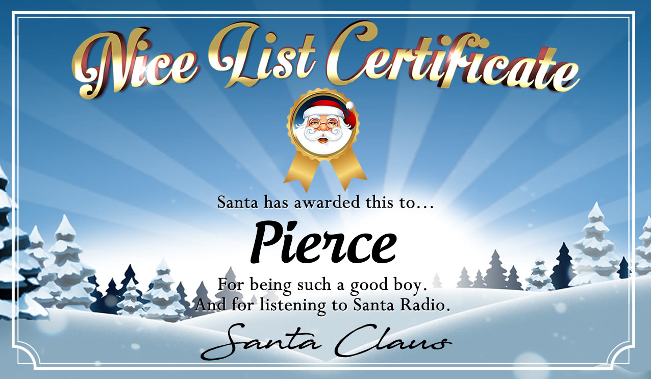 Personalised good list certificate for Pierce