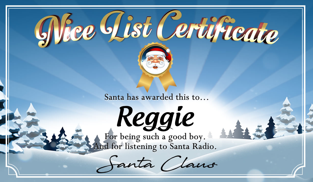 Personalised good list certificate for Reggie