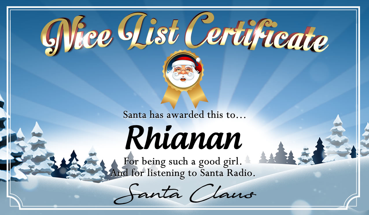 Personalised good list certificate for Rhianan