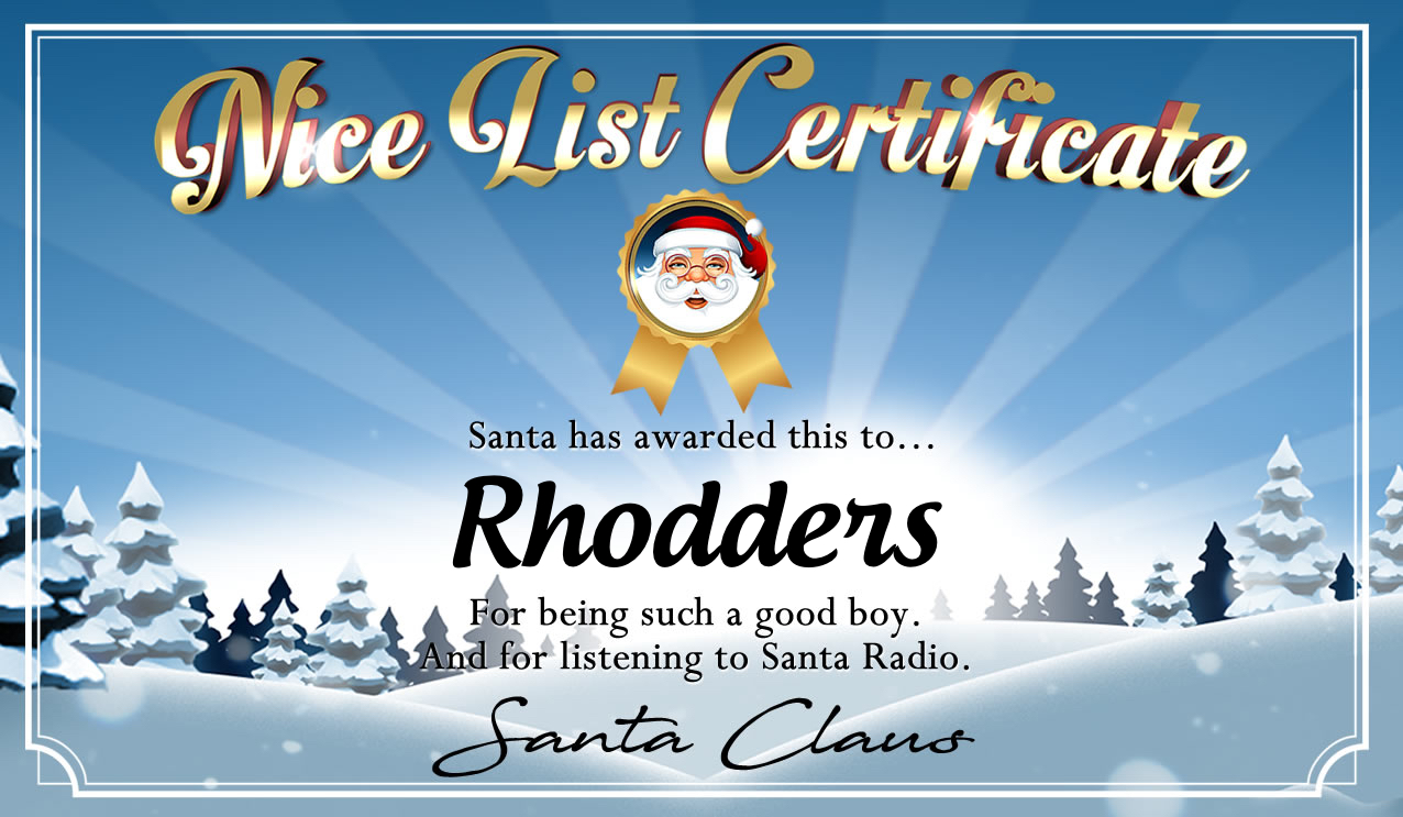 Personalised good list certificate for Rhodders