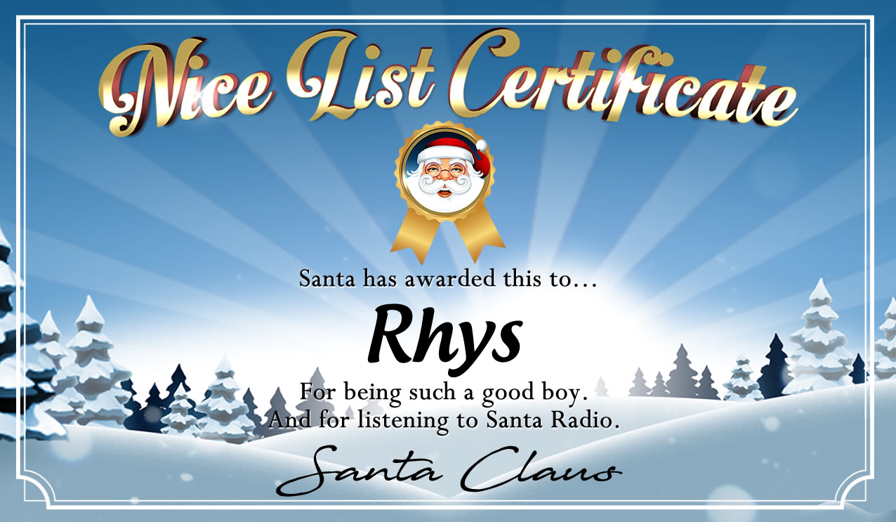 Personalised good list certificate for Rhys