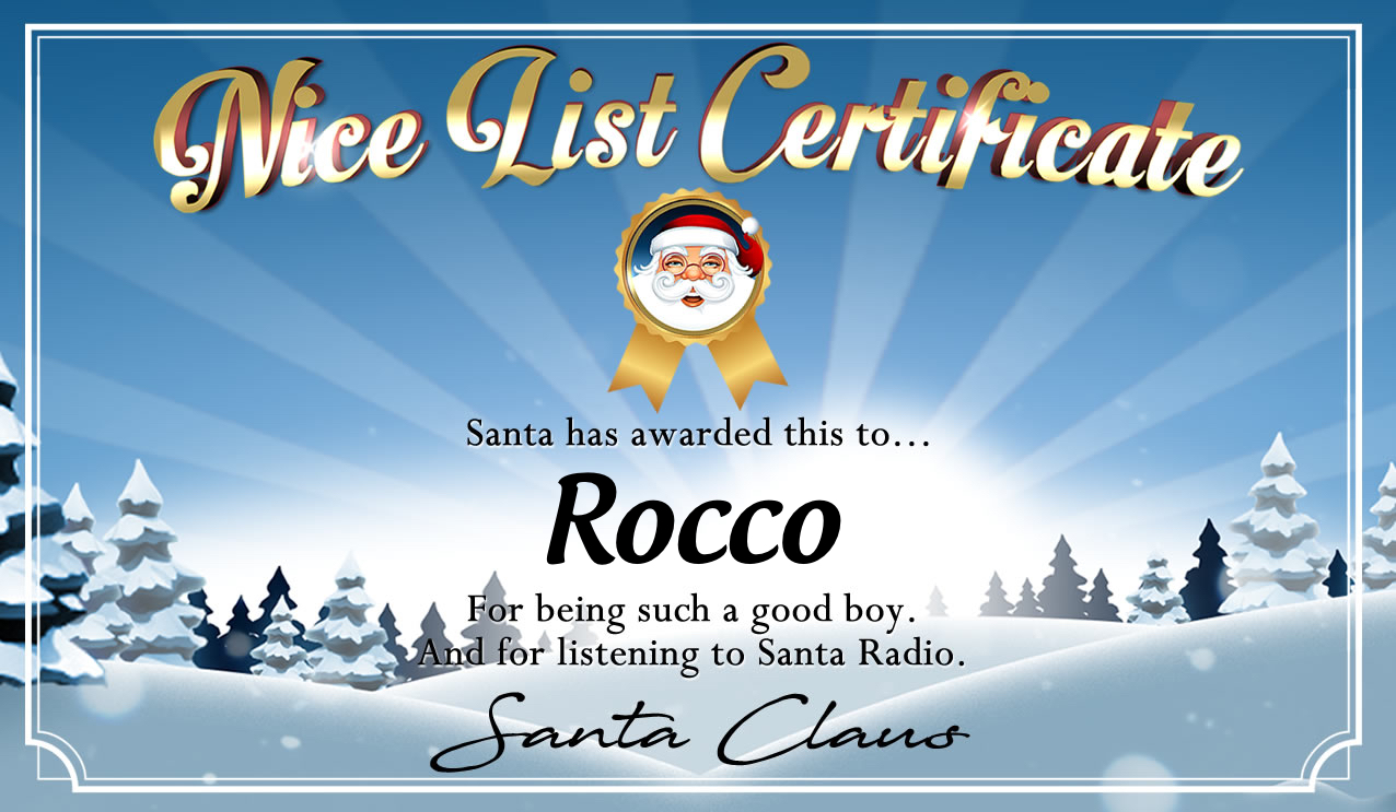 Personalised good list certificate for Rocco