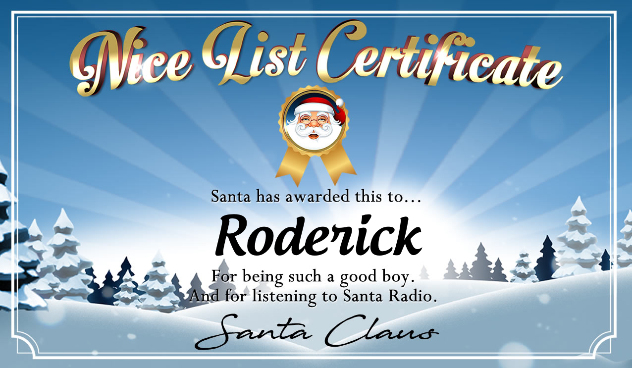 Personalised good list certificate for Roderick