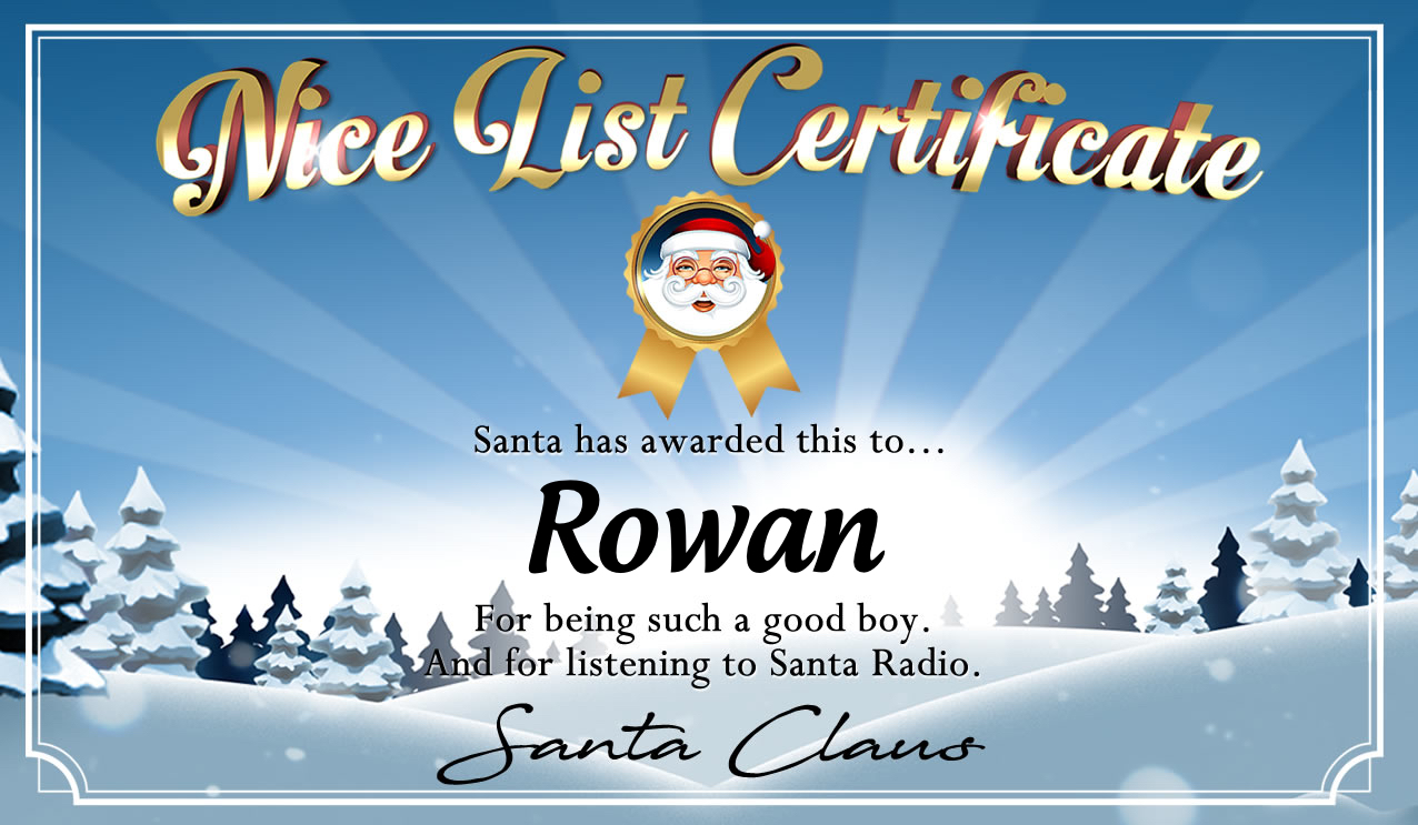 Personalised good list certificate for Rowan