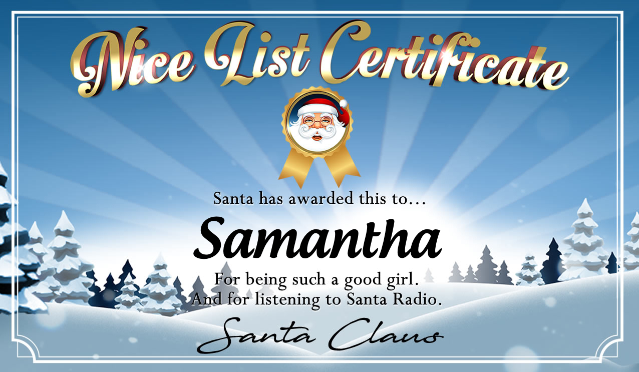 Personalised good list certificate for Samantha