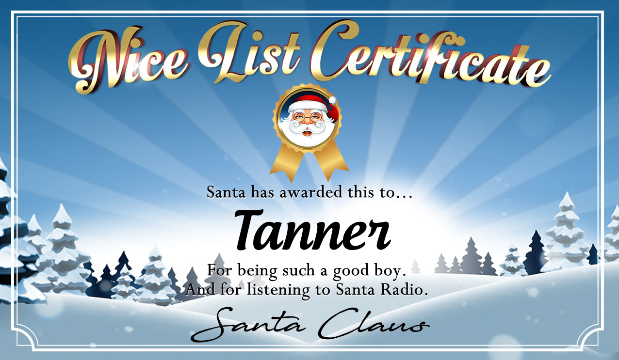 Personalised good list certificate for Tanner