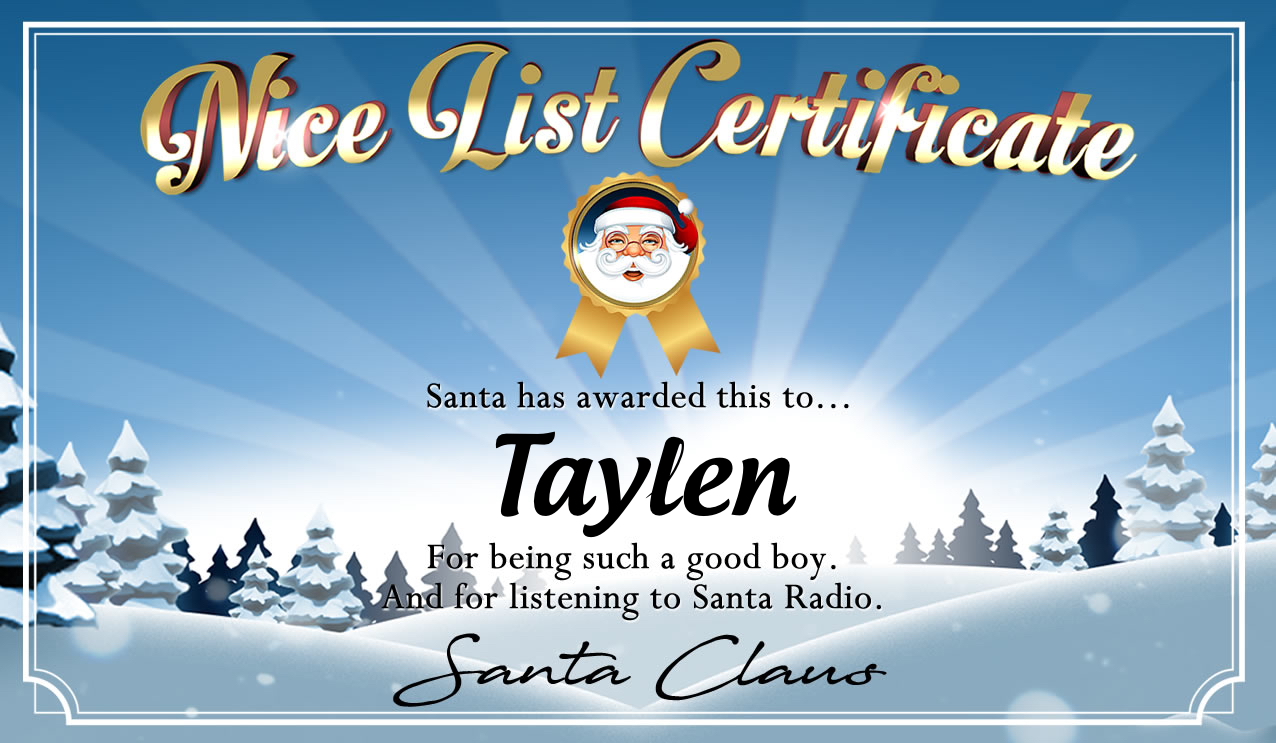 Personalised good list certificate for Taylen