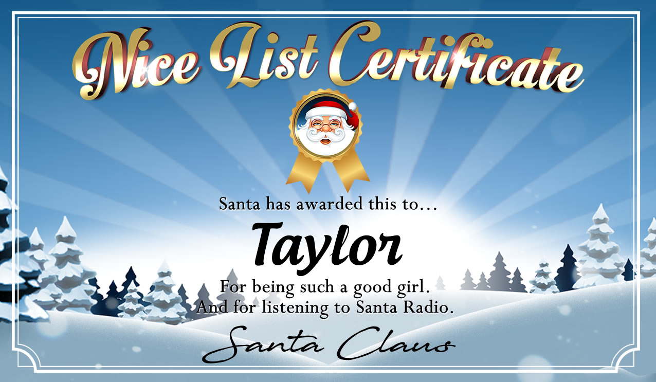 Personalised good list certificate for Taylor
