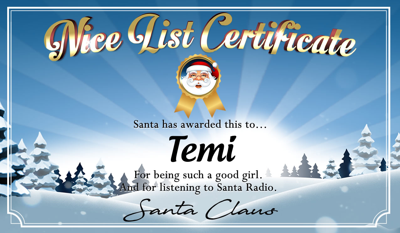 Personalised good list certificate for Temi