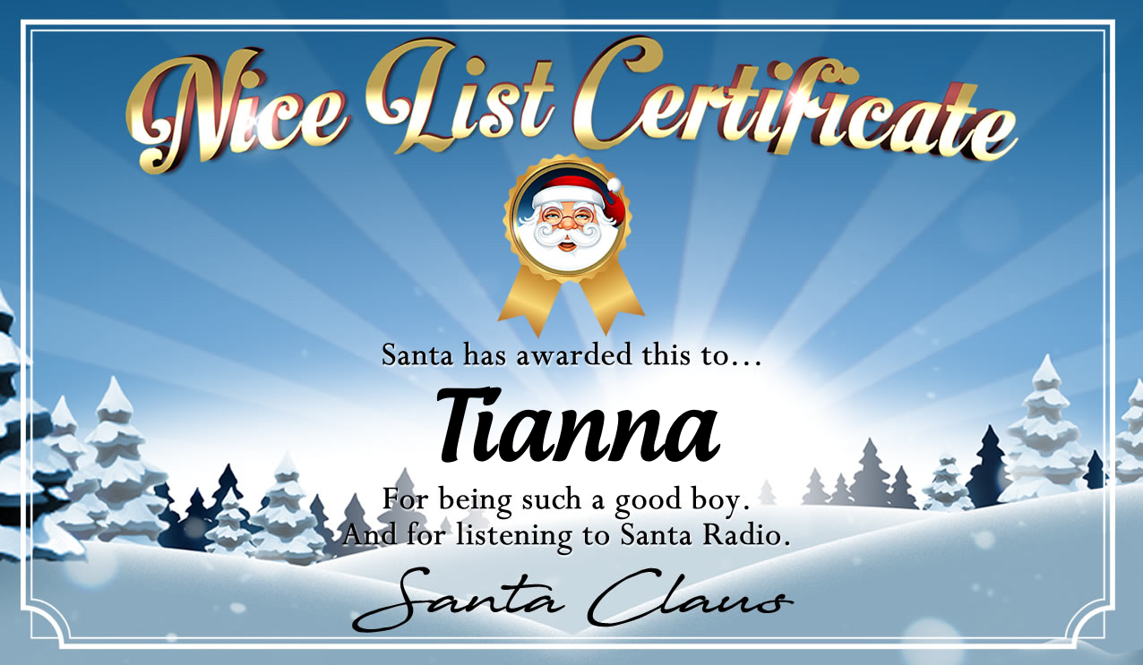 Personalised good list certificate for Tianna