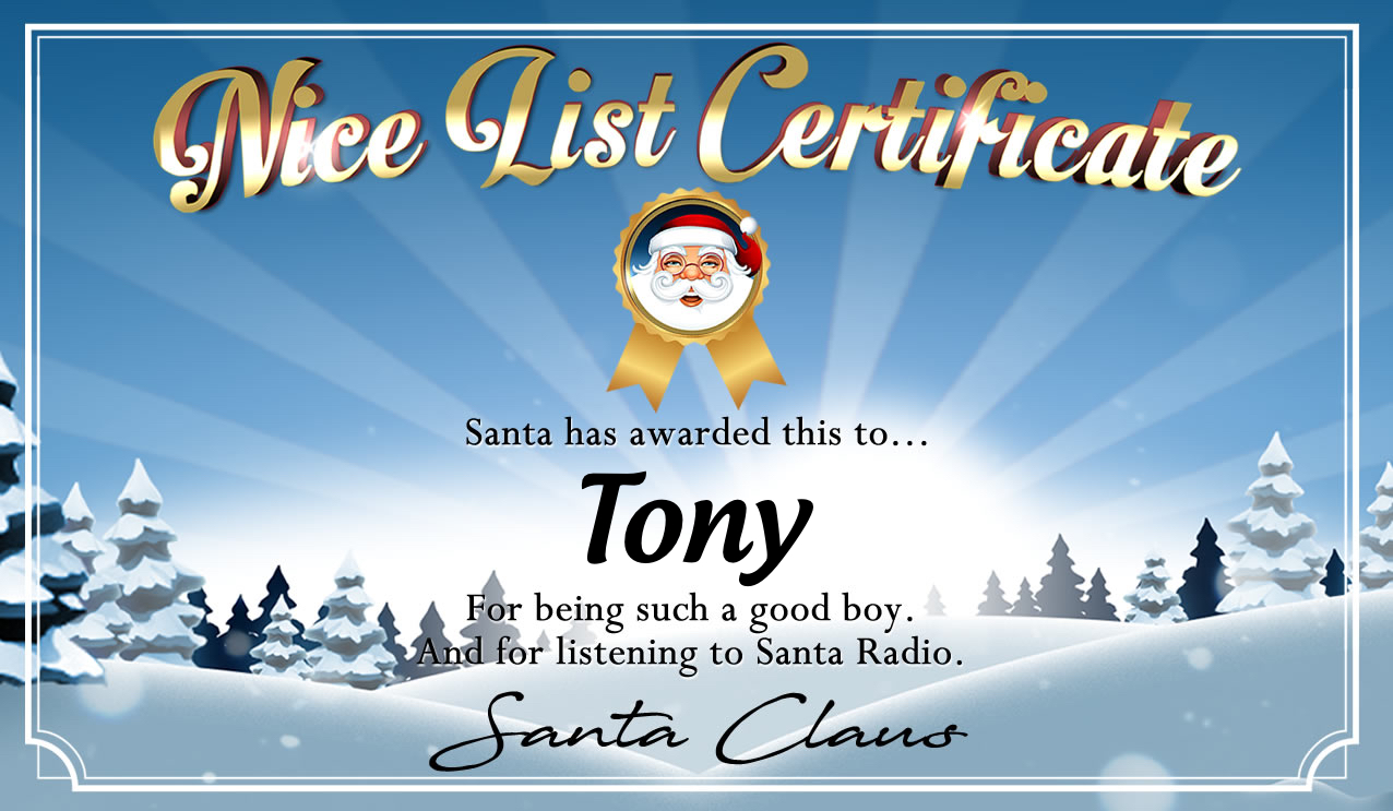 Personalised good list certificate for Tony