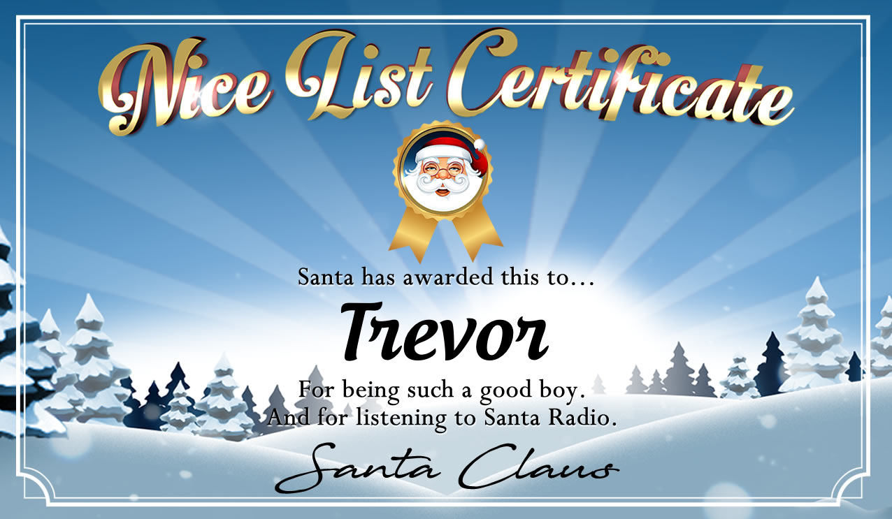 Personalised good list certificate for Trevor