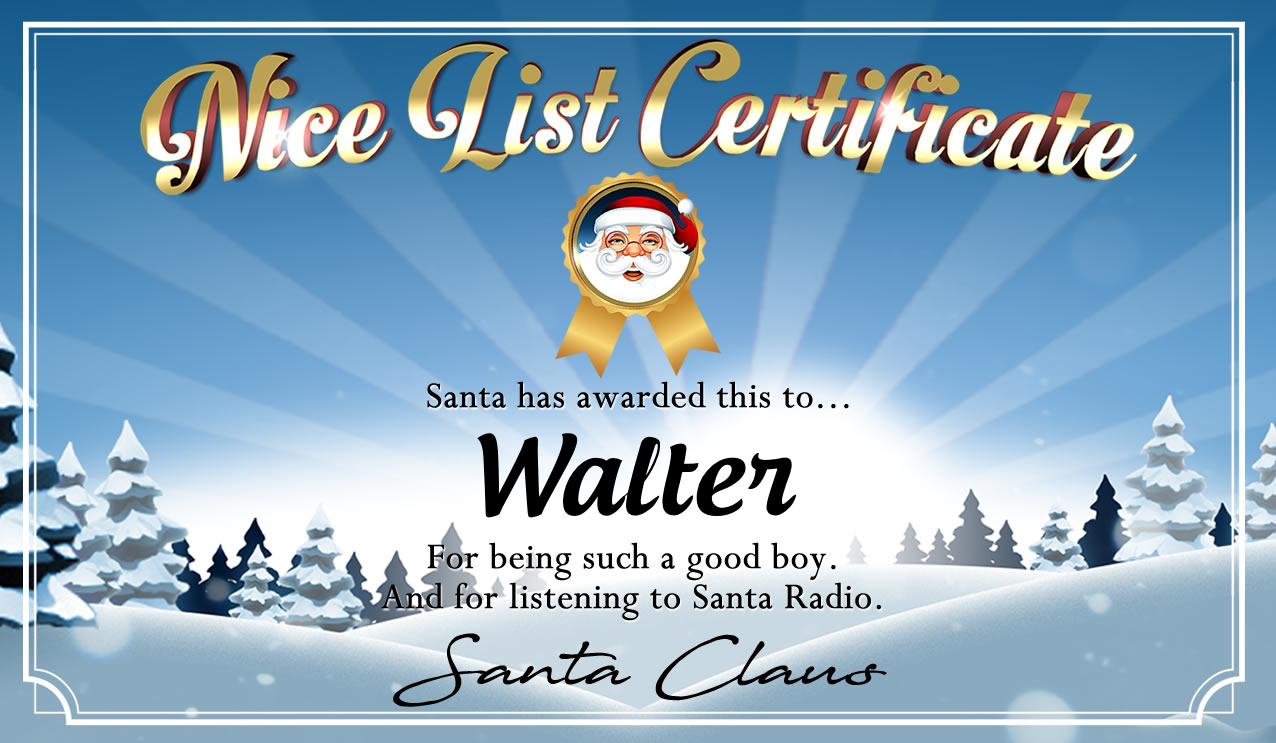 Personalised good list certificate for Walter