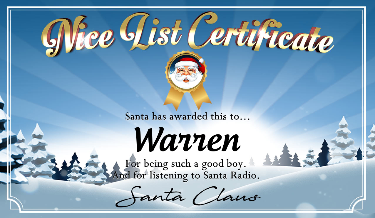 Personalised good list certificate for Warren