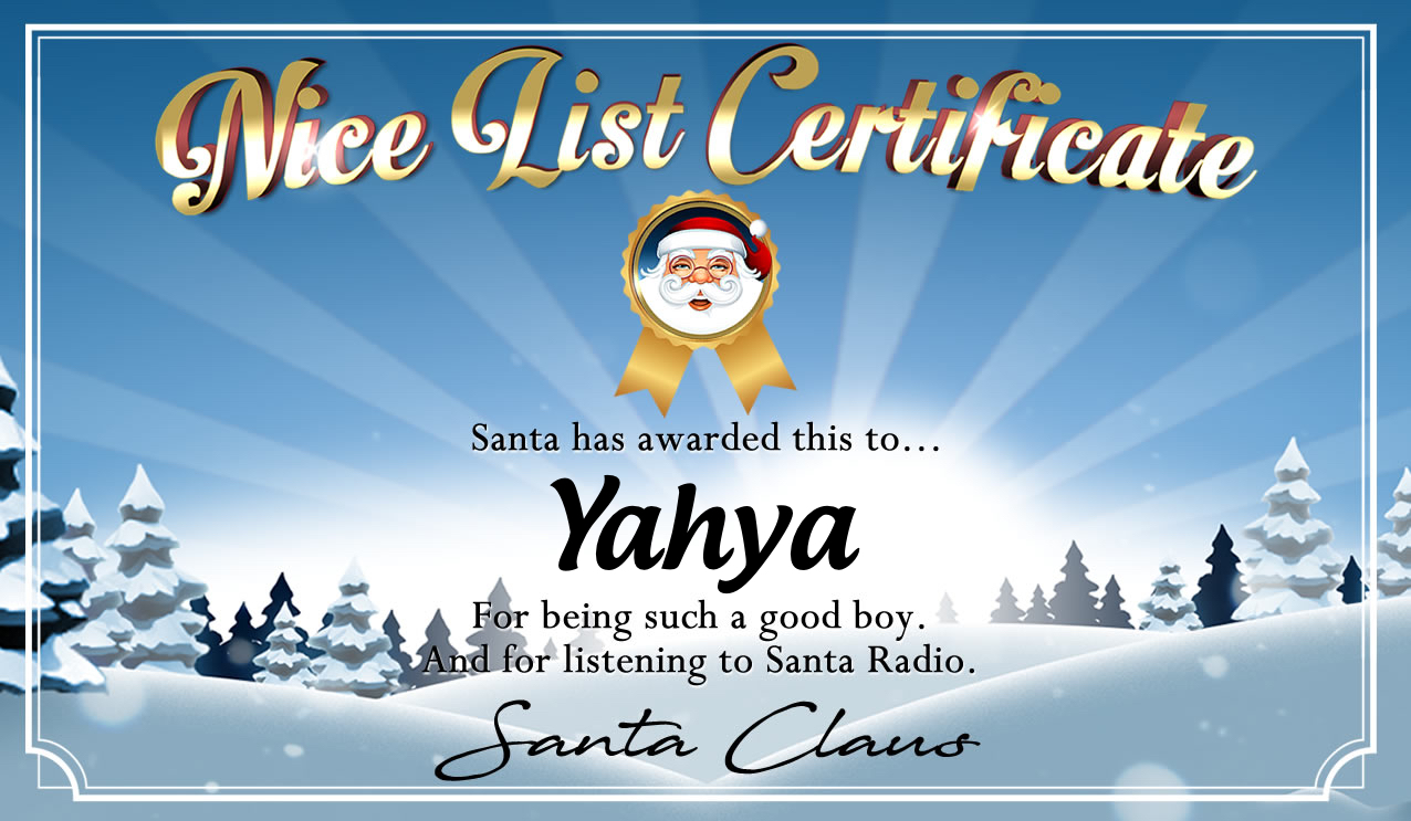 Personalised good list certificate for Yahya