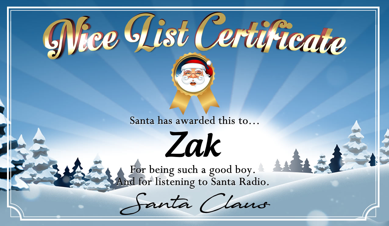 Personalised good list certificate for Zak