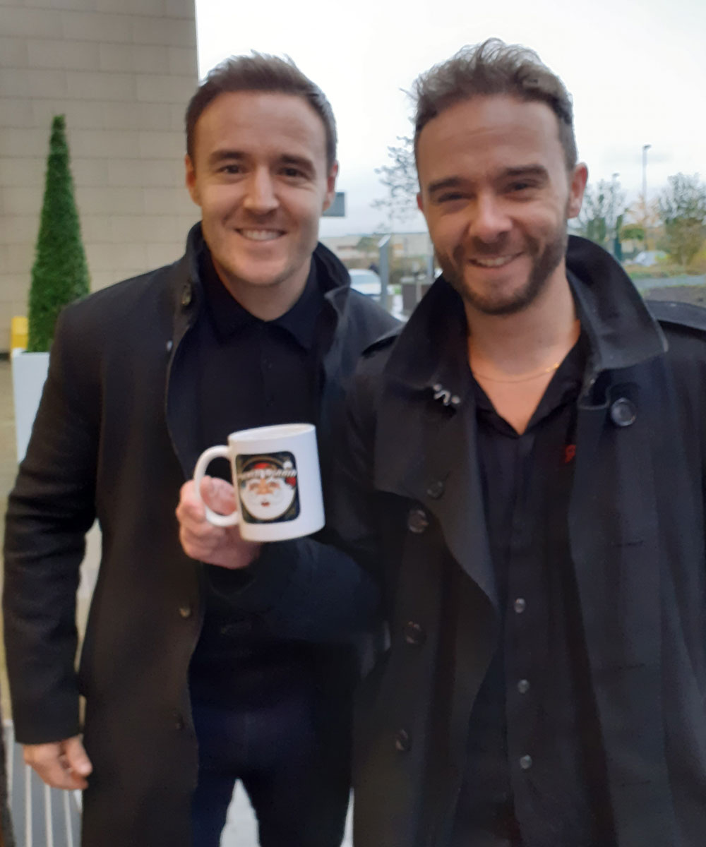 Jack P Shepherd & Alan Halsall Actors - Santa Radio Celebrity Mugshots