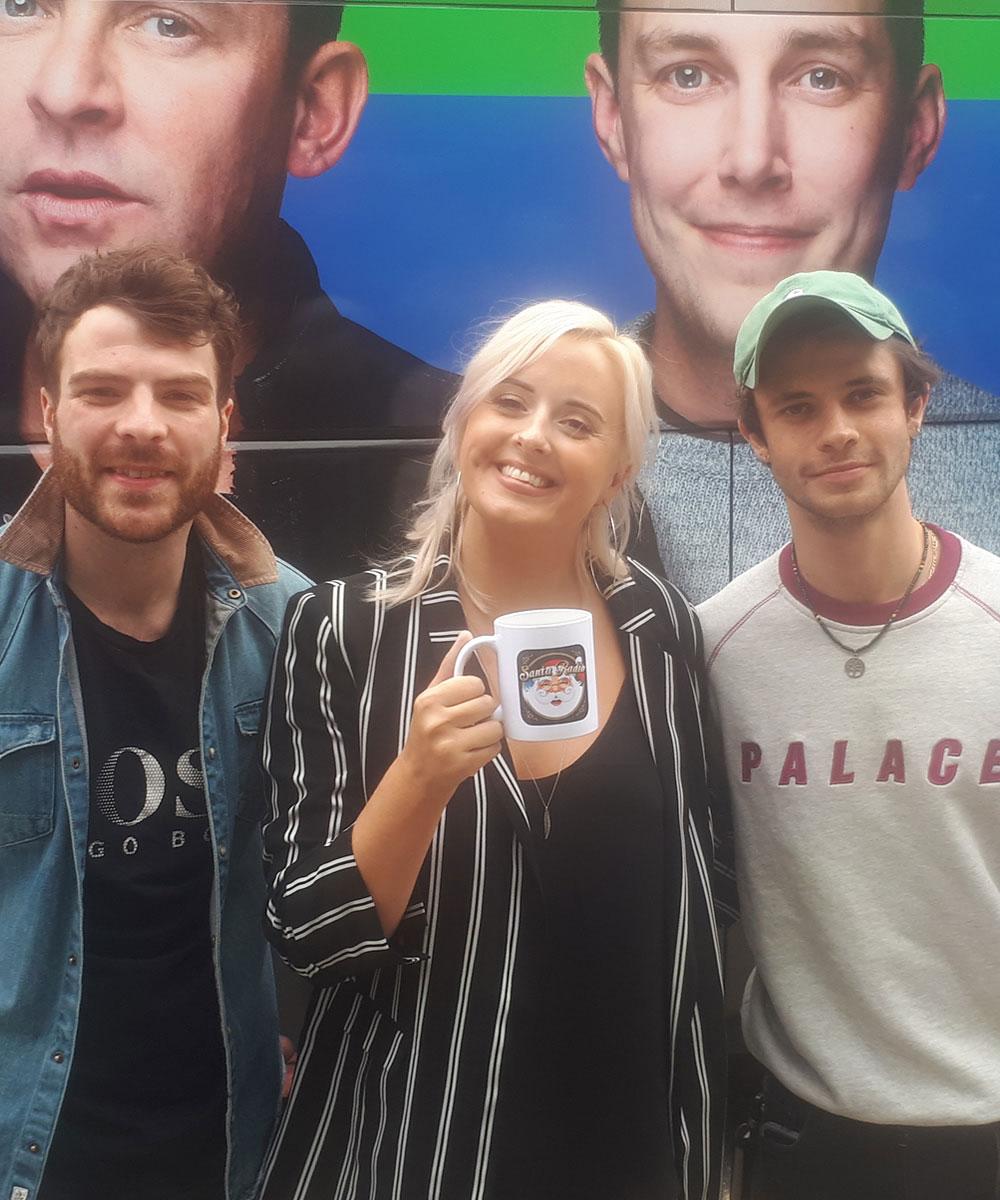Jordan, Katie & Cell - BBC Radio 1 DJs - Santa Radio Mugshot
