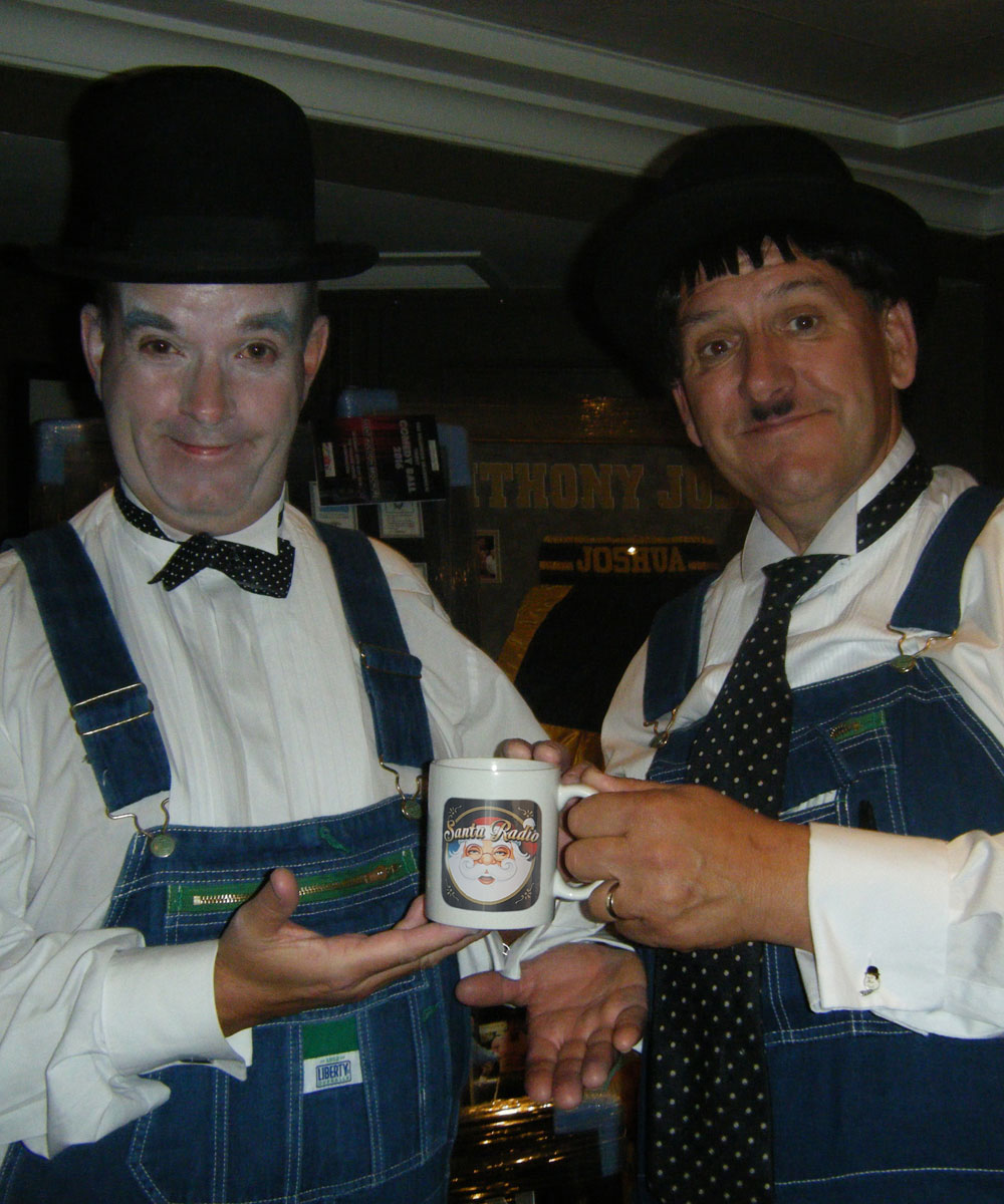 Laurel and Hardy - Comedy duo - Santa Radio Mugshot