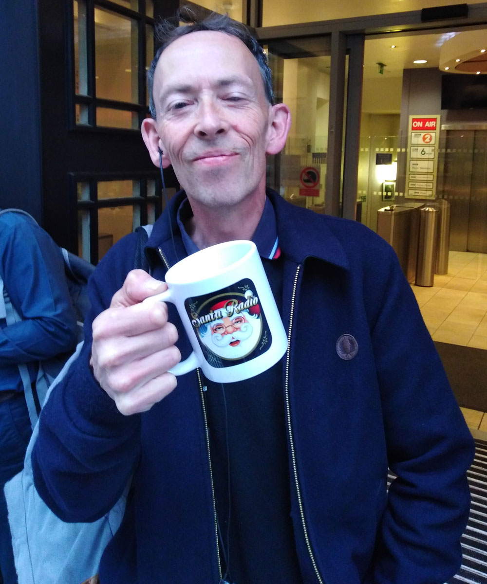Steve Lamacq Radio Presenter - Santa Radio Celebrity Mugshots